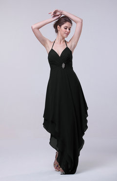 Black Classic A-line Sleeveless Zip up Chiffon Homecoming Dresses