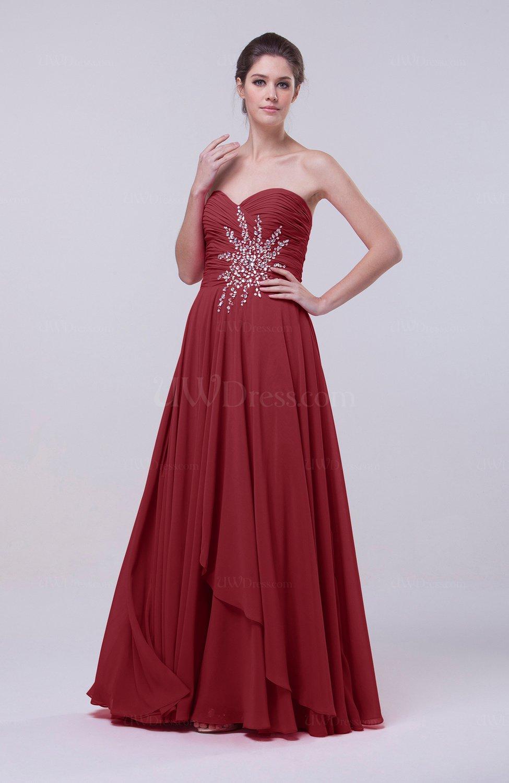 Dark Red Classic A-line Sleeveless Backless Floor Length Evening ...