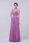 Elegant Column Halter Zip up Chiffon Prom Dresses