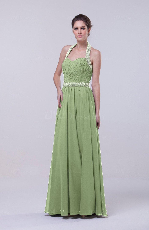 Sage Green Elegant Column Halter Zip Up Chiffon Prom