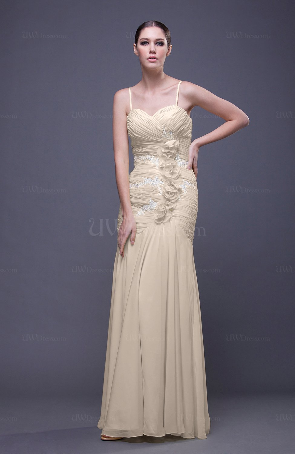Cream romantic column spaghetti sleeveless backless for Backless wedding guest dresses