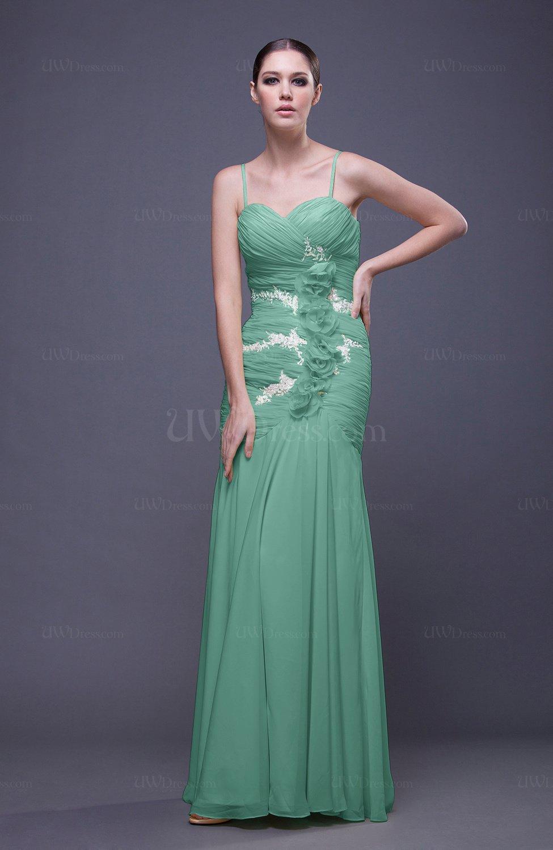 Mint green romantic column spaghetti sleeveless backless for Mint wedding guest dress