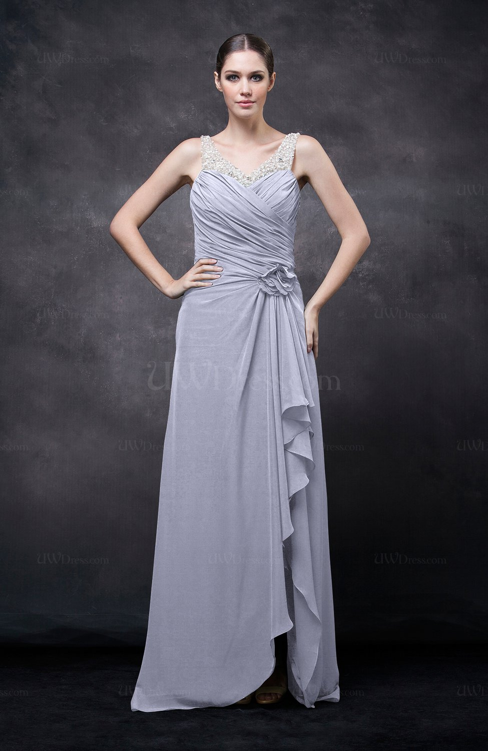 Lavender romantic illusion backless chiffon flower wedding for Backless wedding guest dresses