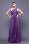 Modest Asymmetric Neckline Sleeveless Chiffon-Satin Floor Length Prom Dresses