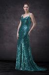 Modern Fit-n-Flare Spaghetti Court Train Paillette Prom Dresses