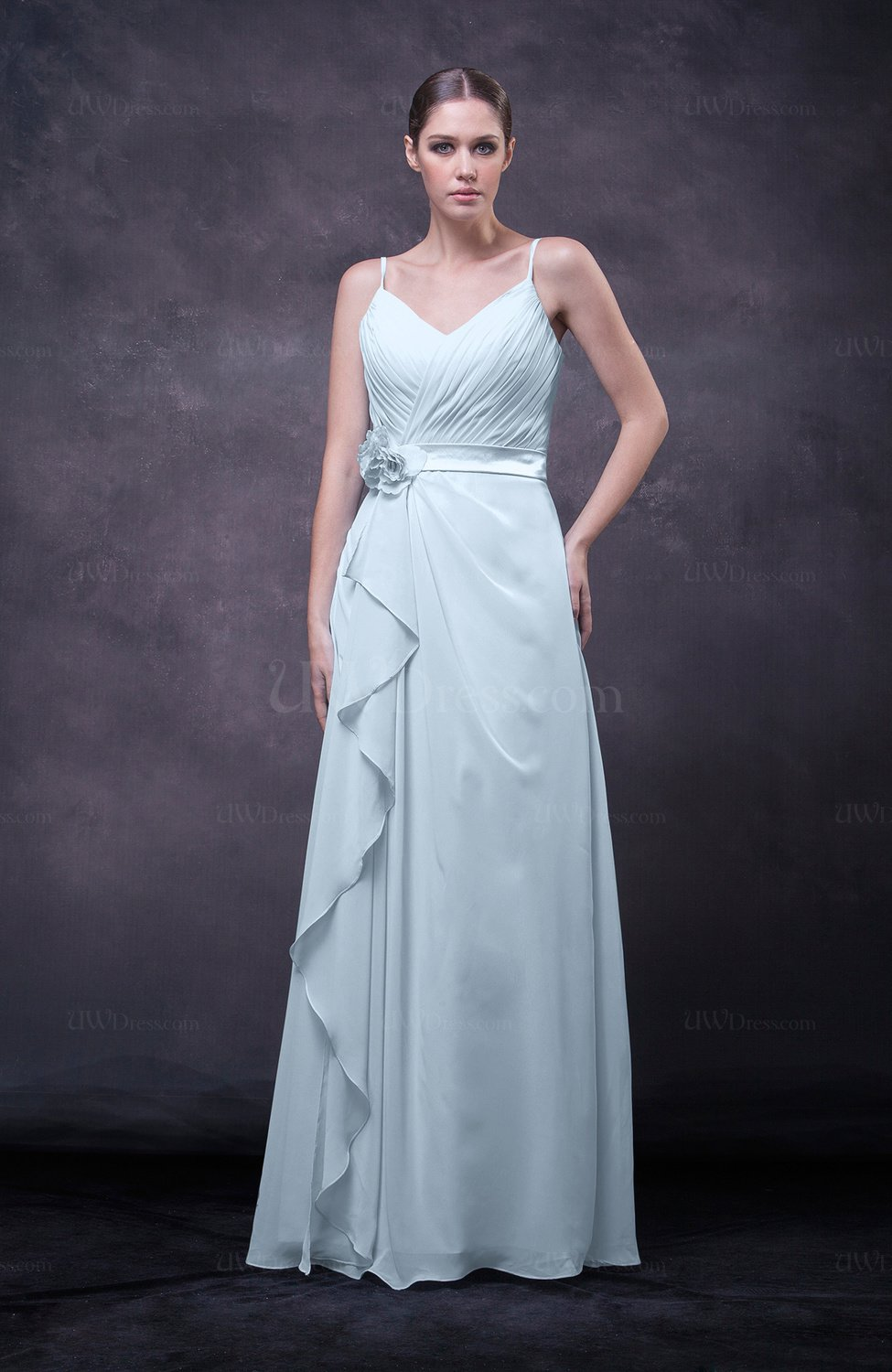 Ice Blue Romantic Sleeveless Zip Up Chiffon Floor Length