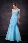Classic Mermaid Illusion Sleeveless Organza Sequin Wedding Guest Dresses