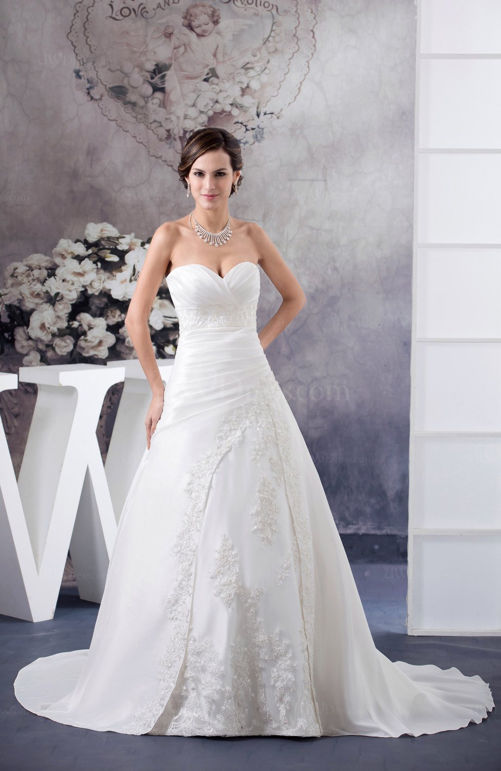 White Traditional Bridal Gowns Winter Unique Sweetheart A line Satin ...