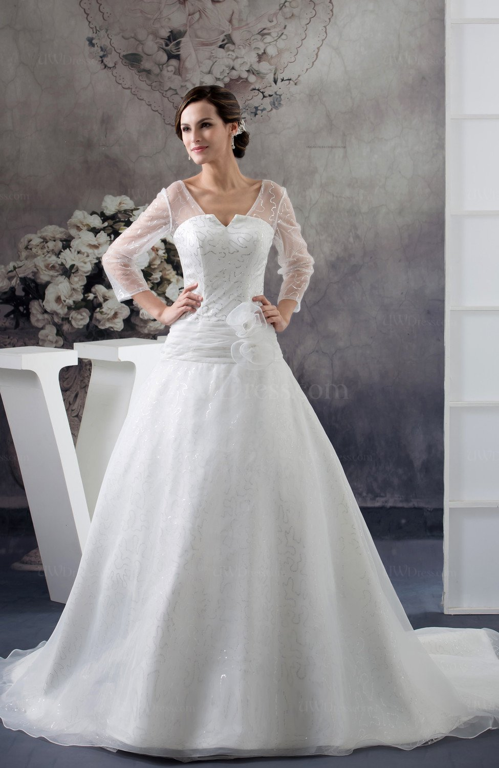 White with sleeves bridal gowns allure illusion long for One sleeve wedding dress