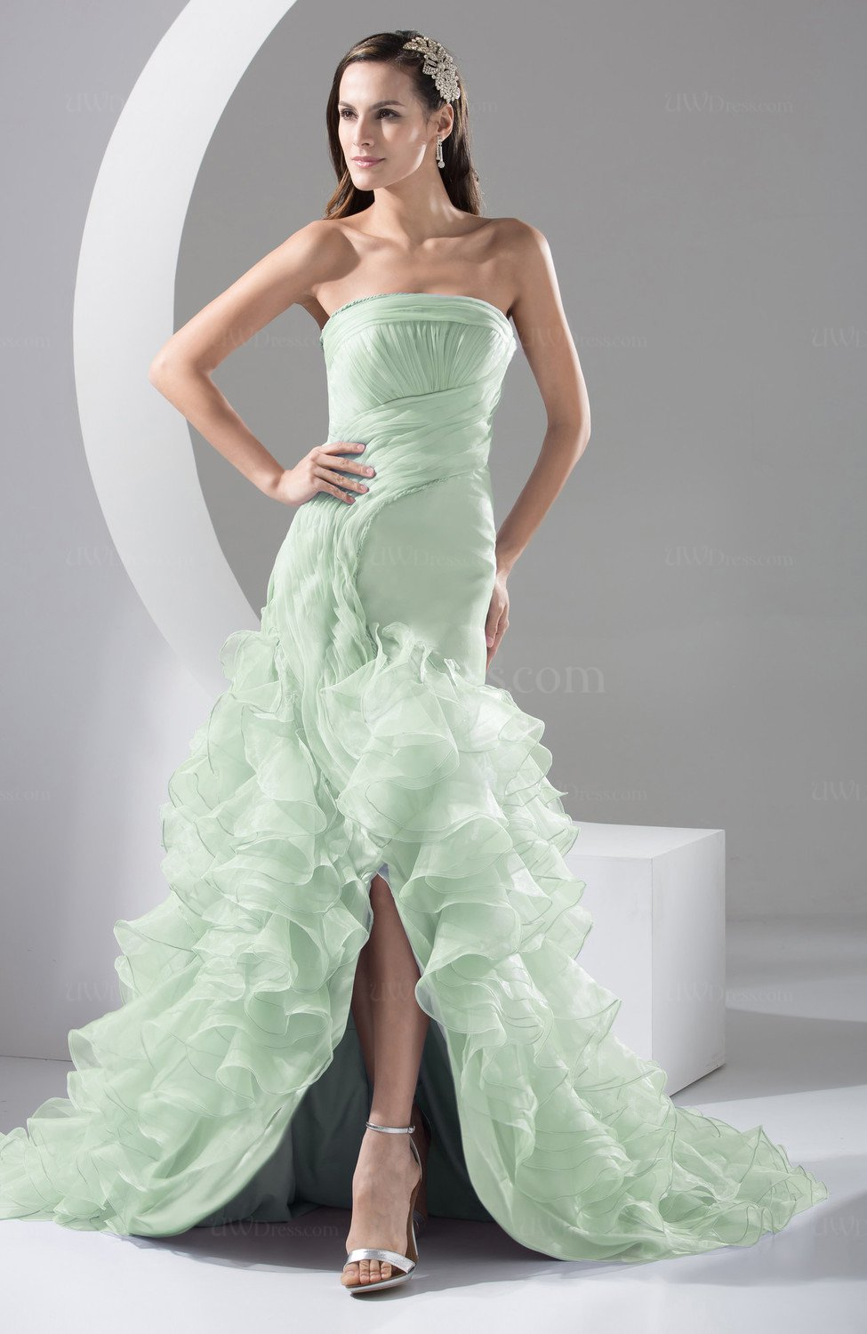 Light green allure bridal gowns short backless fall winter for Short green wedding dresses