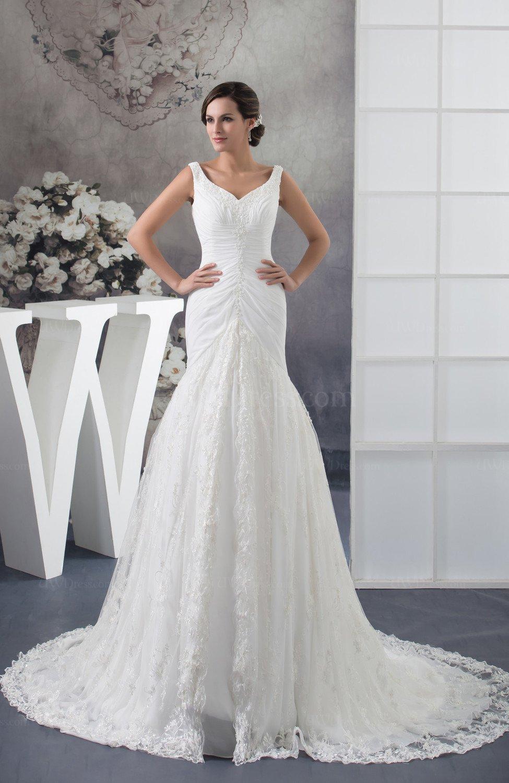 White lace bridal gowns allure full figure sleeveless fall for Wedding dresses for fuller figures
