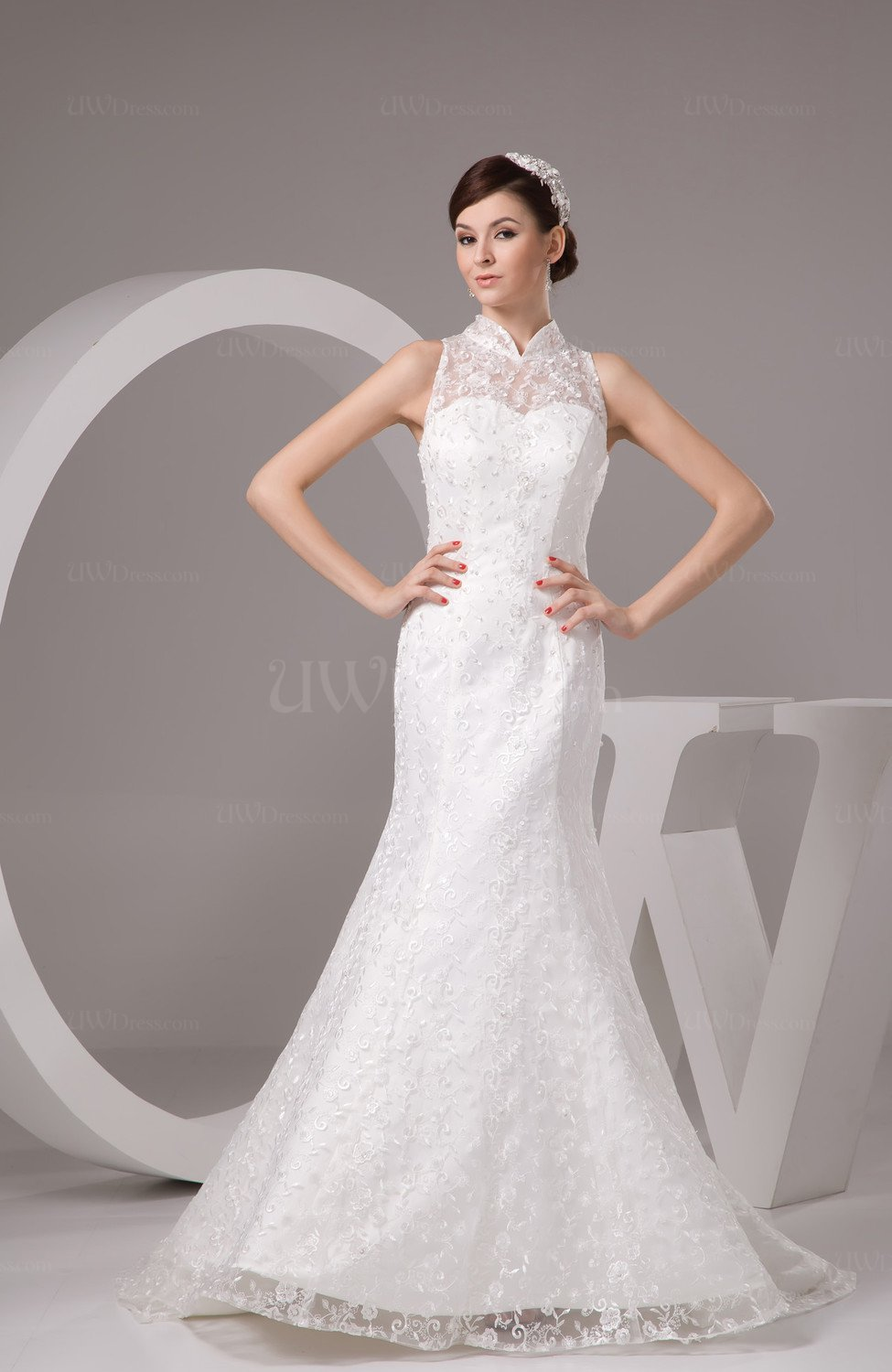 Lace bridal gowns illusion classic full figure fall for Petite lace wedding dresses