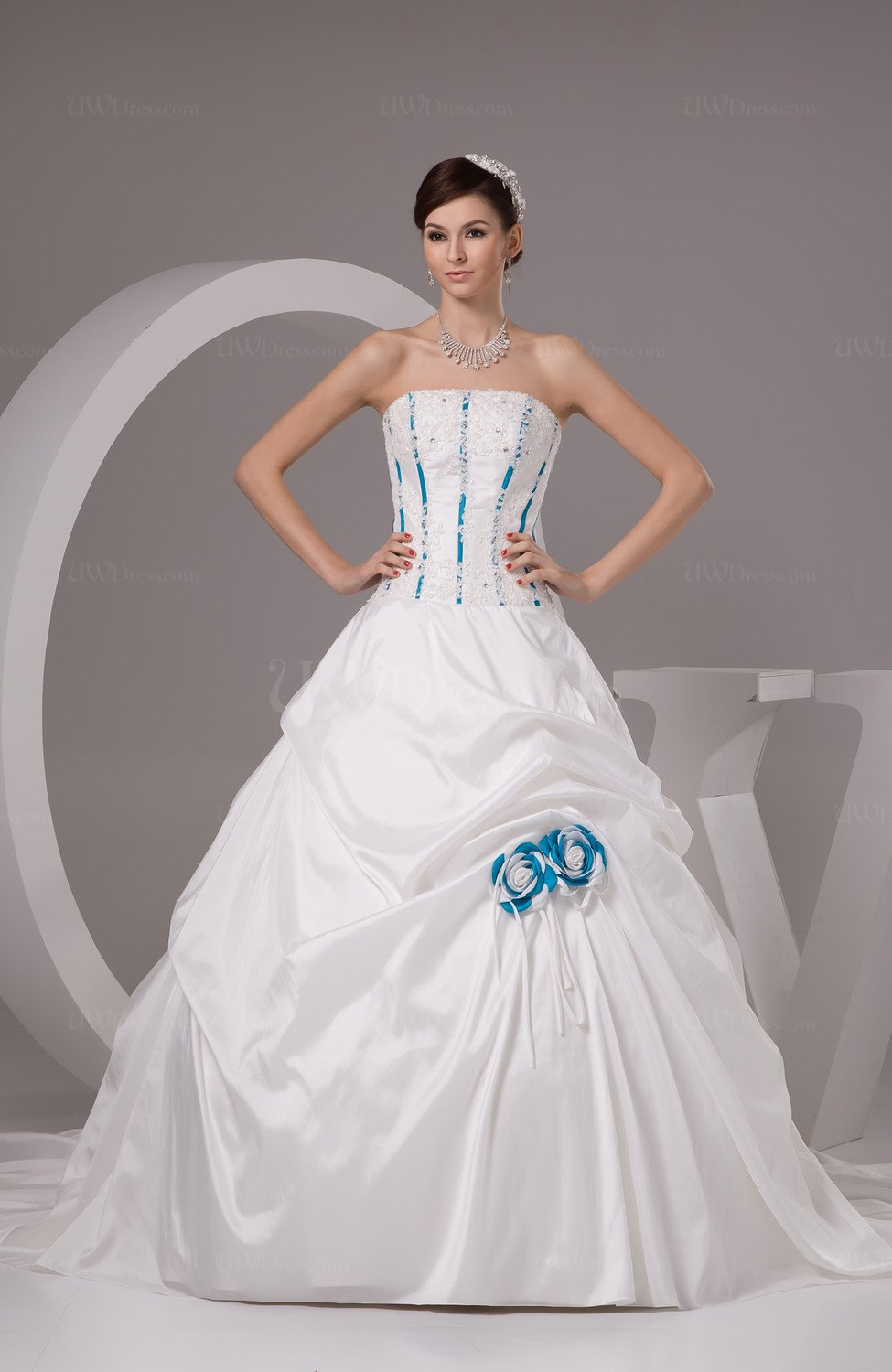 White Ball Gown Bridal Gowns Open Back Summer Fall Full Figure ...