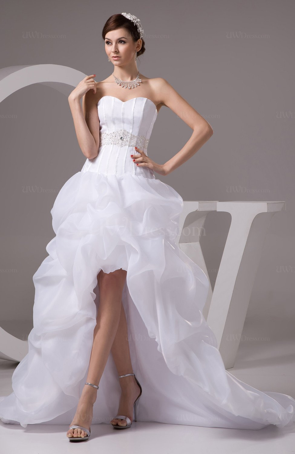 White allure bridal gowns inexpensive western knee length for Wedding dress high low