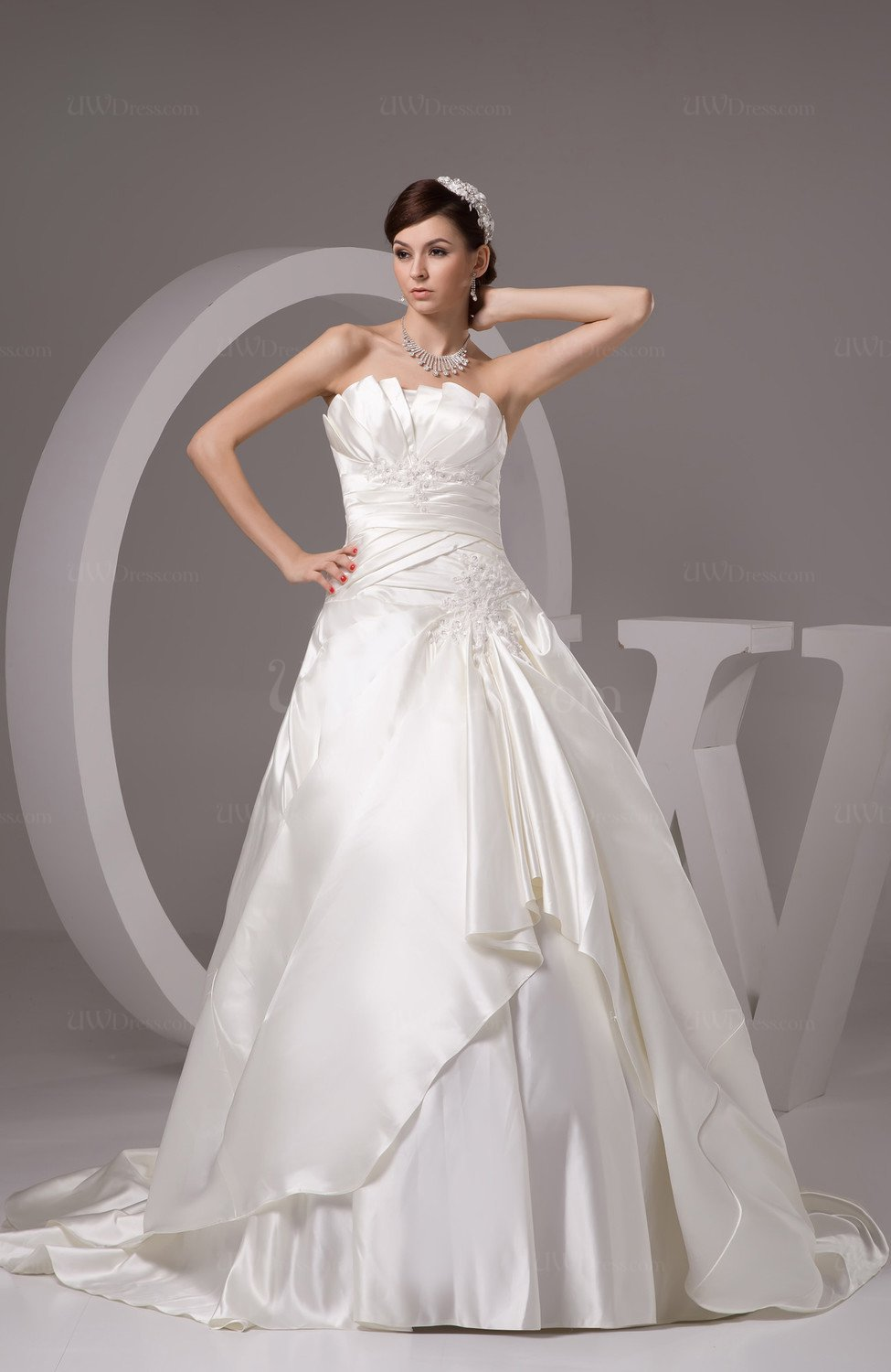 Allure Bridal Gowns Plus Size Open Back Formal Strapless ...