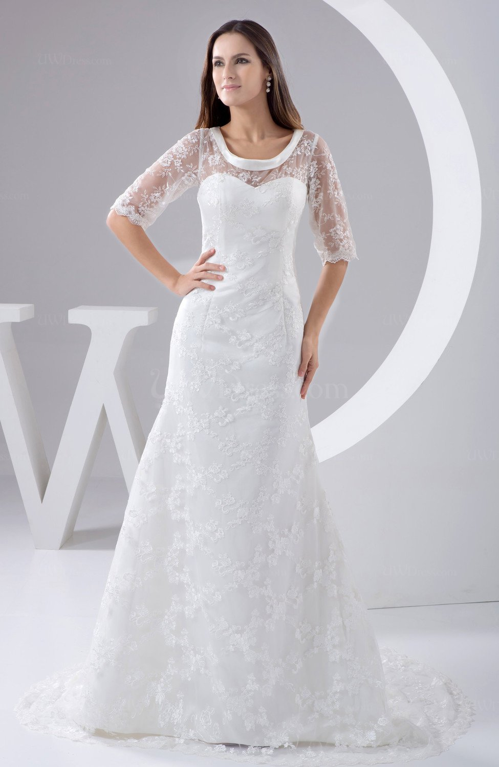 with Sleeves Bridal Gowns Lace Mature Full Figure Fall Spring ...