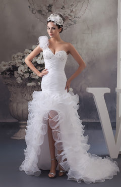 White Allure Bridal Gowns Short Sleeveless Spring Modern Elegant One Shoulder