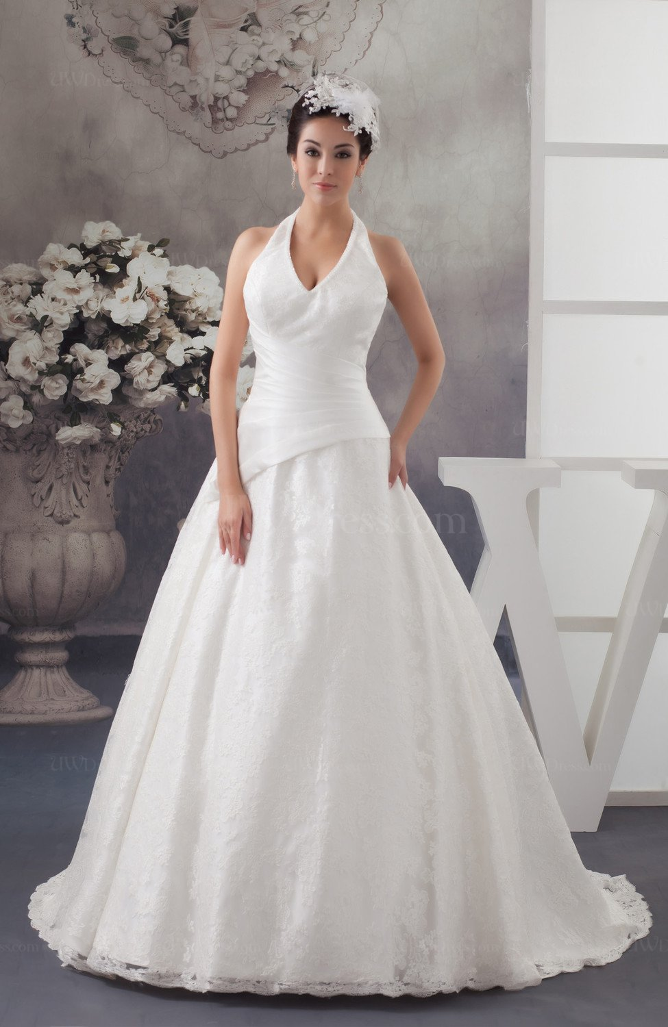 Lace bridal gowns glamorous plus size formal halter spring for Halter top wedding dresses plus size