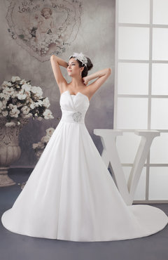 White Inexpensive Bridal Gowns Strapless Glamorous Formal Spring Country
