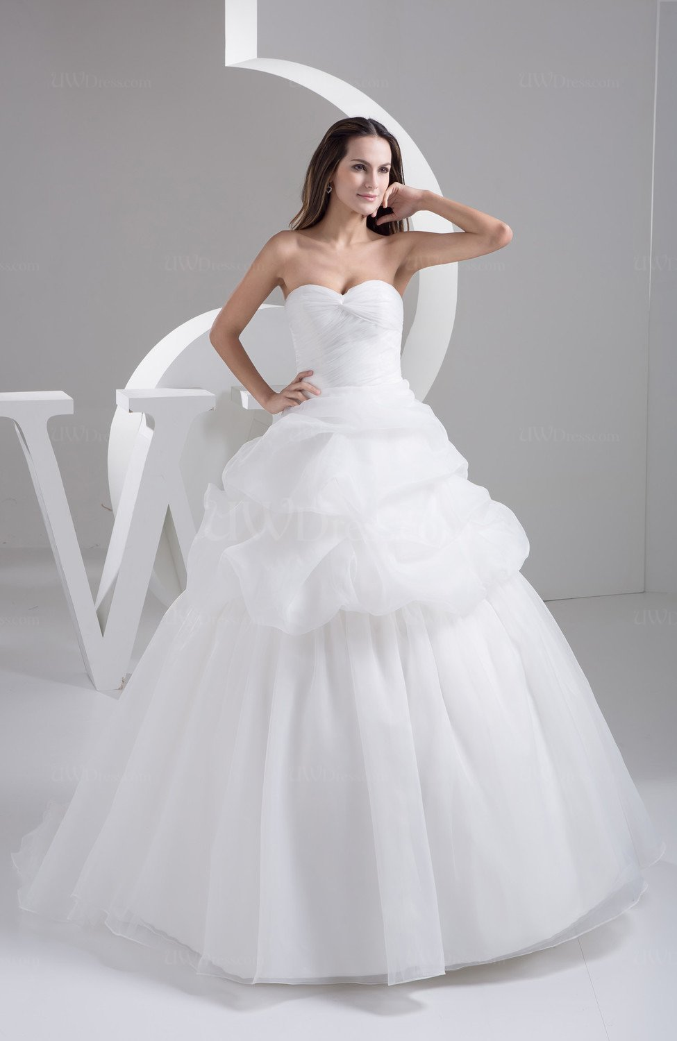 White ball gown bridal gowns open back summer strapless for Strapless summer wedding dresses