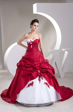 Dark Red Disney Princess Bridal Gowns Ball Gown Expensive Strapless Beaded Amazing