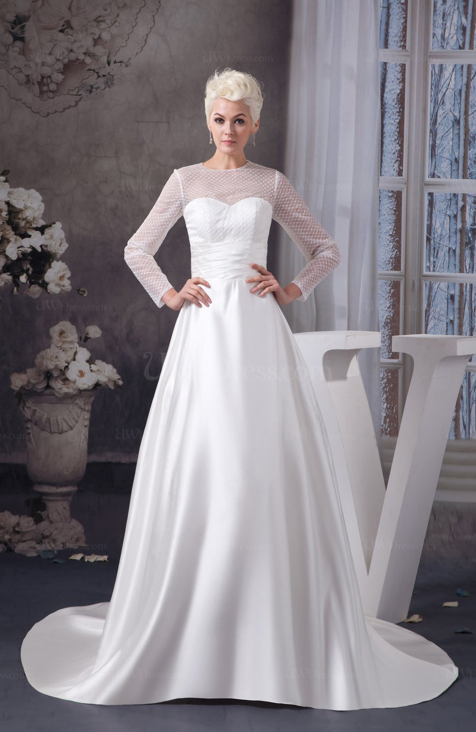 White With Sleeves Bridal Gowns Modest Long Sleeve Amazing
