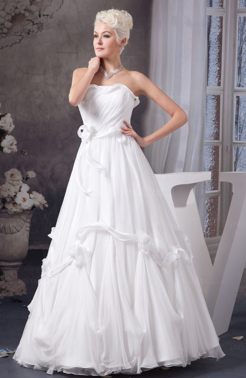 White Inexpensive Bridal Gowns Plus Size Romantic Formal Winter ...