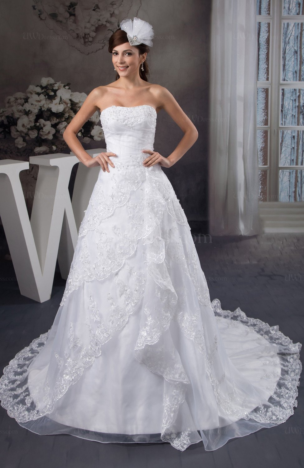 Lace bridal gowns allure plus size full figure glamorous for Full size wedding dresses