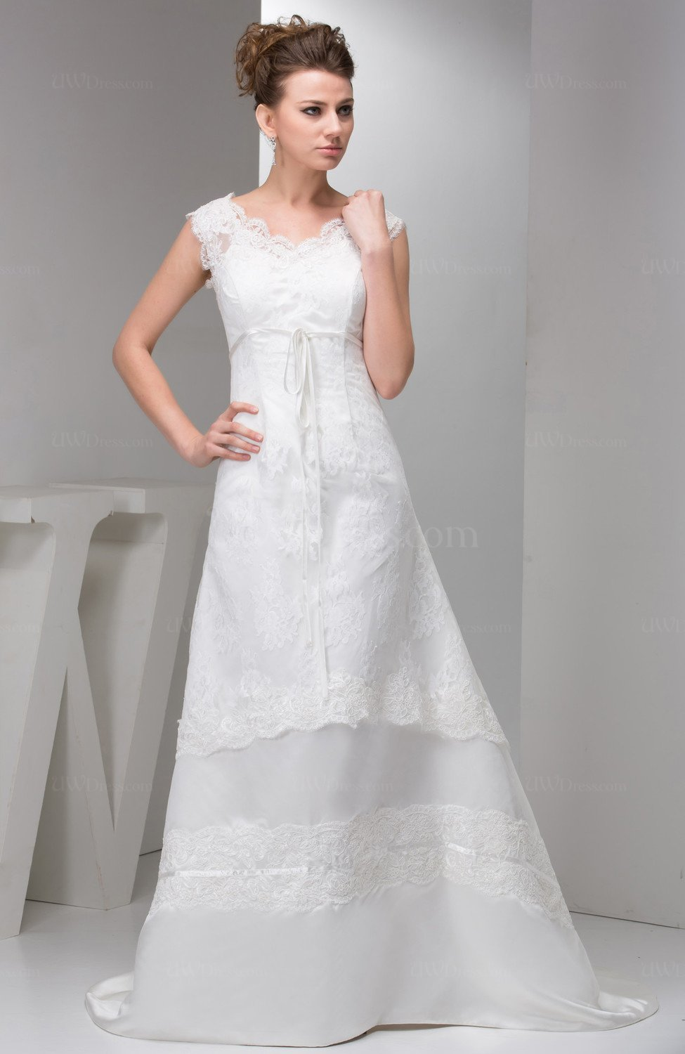 White lace bridal gowns modest disney princess classic for Lace modest wedding dresses