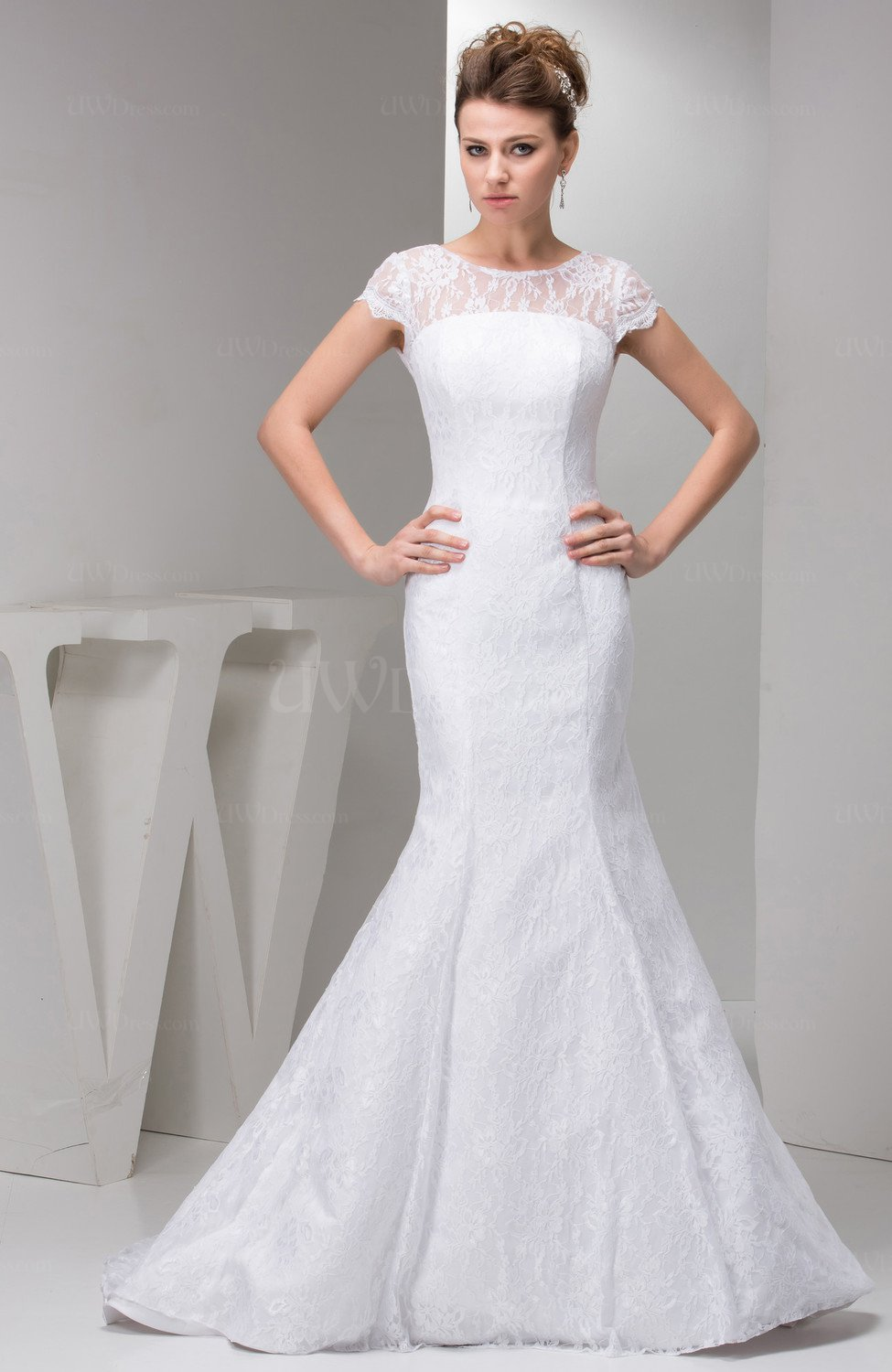 With sleeves bridal gowns lace simple full figure summer for Summer dresses for wedding