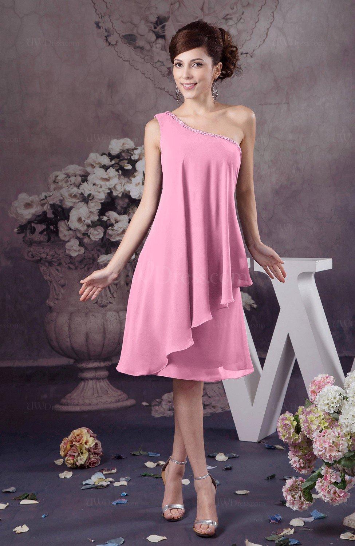 Pink Chiffon Bridesmaid Dress One Shoulder Full Figure Informal ...