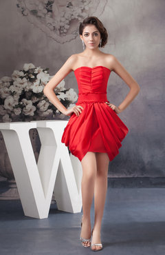 Red Short Bridesmaid Dress Unique Spring Formal Backless Hot Allure Classy
