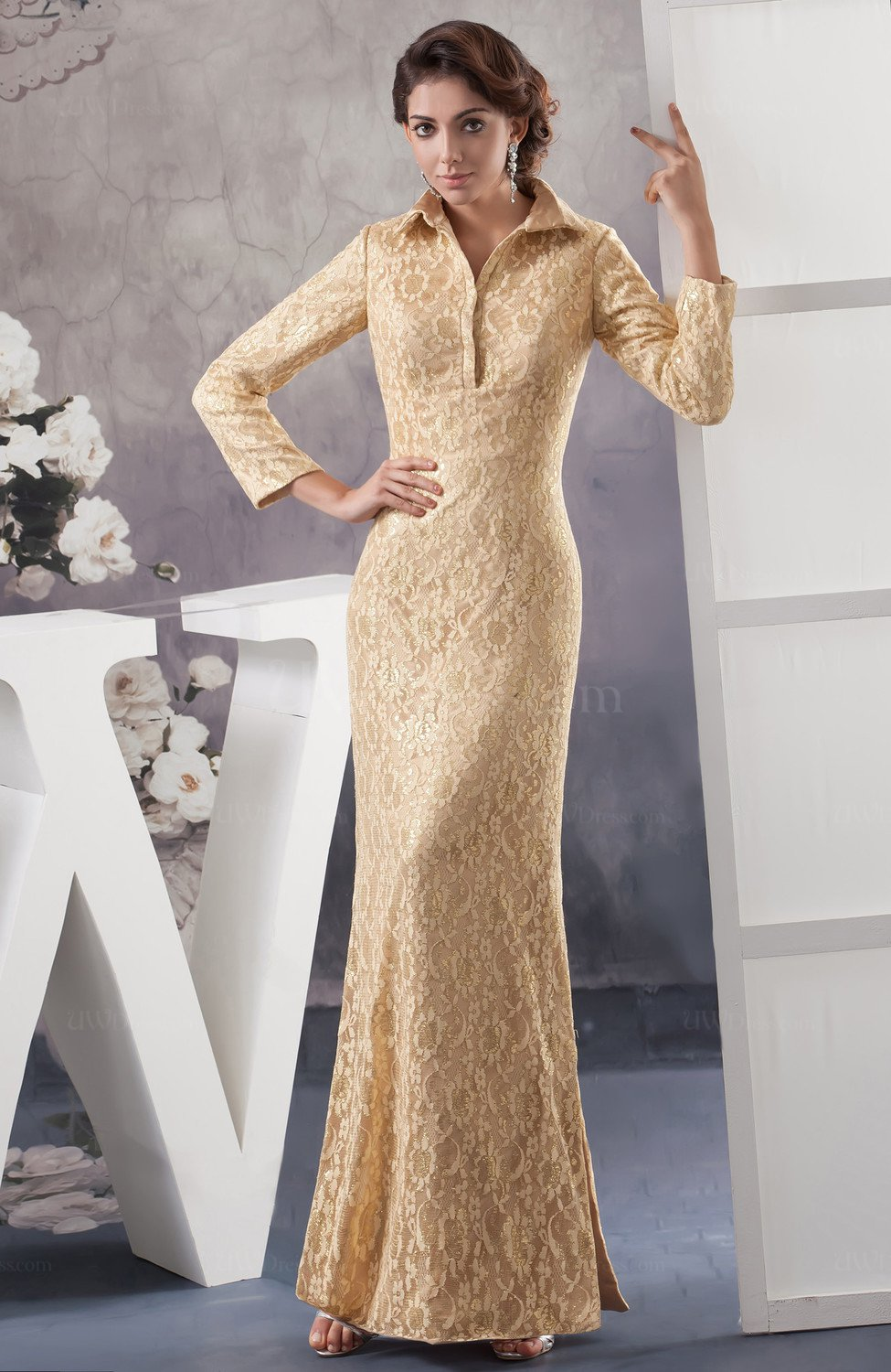 With Sleeves Prom Dress Unique Split Front High Neck Expensive Tight