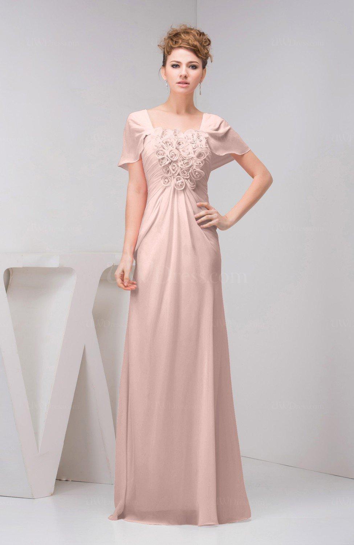 Dusty Rose With Sleeves Bridesmaid Dress Chiffon Fall
