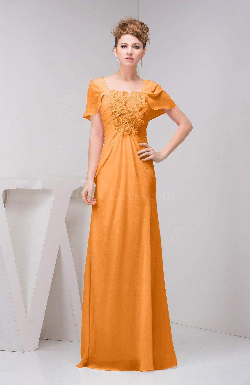 Orange With Sleeves Bridesmaid Dress Chiffon Fall Casual Natural Outdoor A Li