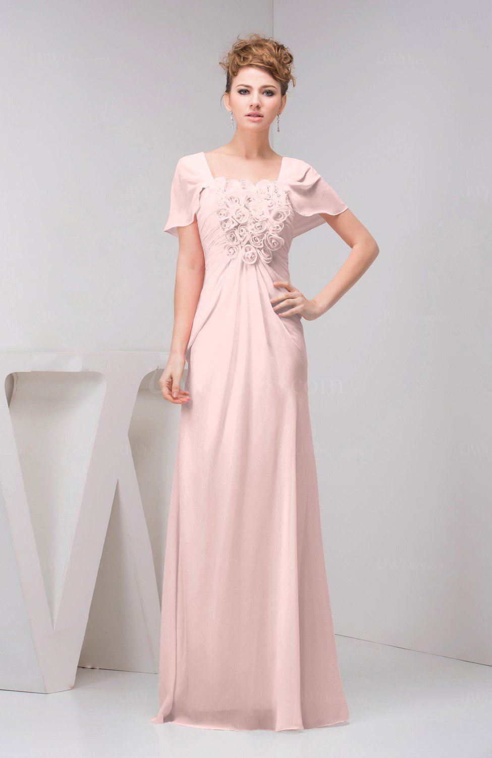 Pastel pink with sleeves bridesmaid dress chiffon fall for Fall casual wedding dresses