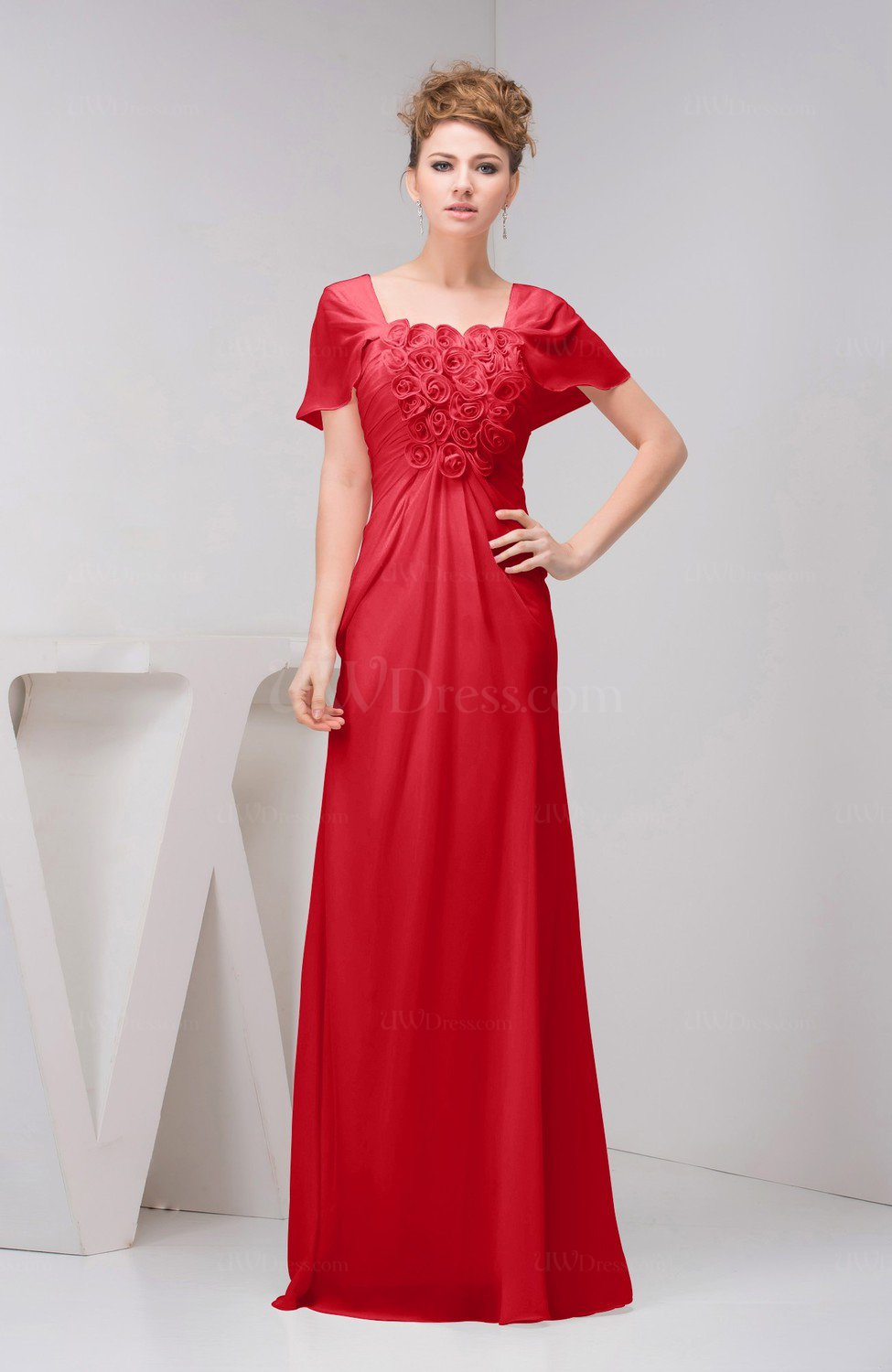 Red With Sleeves Bridesmaid Dress Chiffon Fall Casual Natural Outdoor A Line