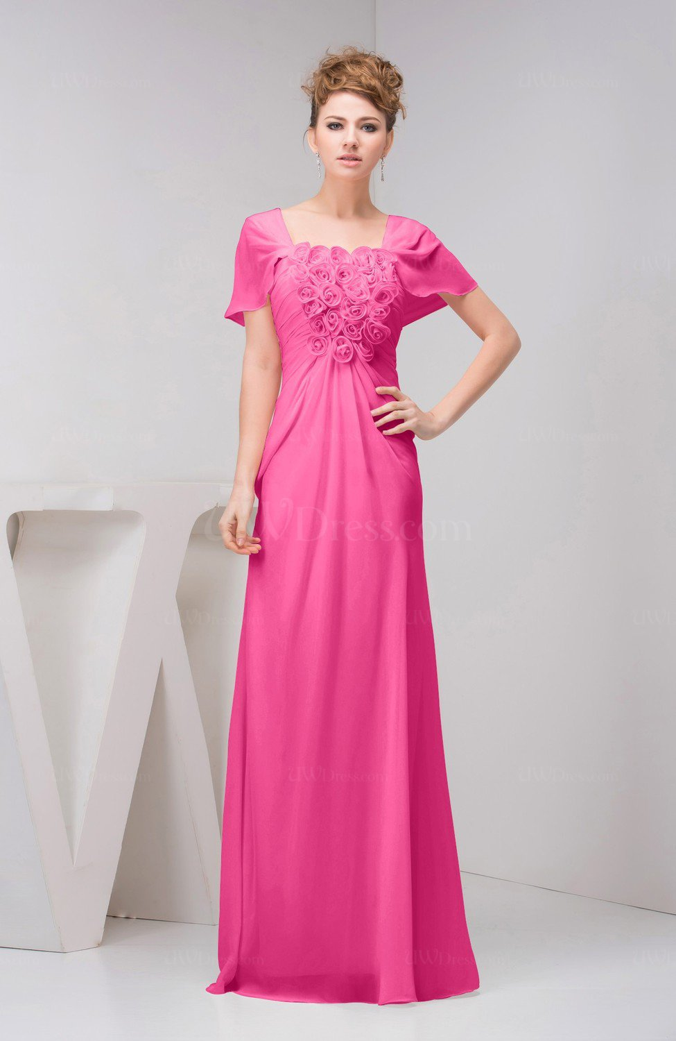 Pink Informal Wedding Dresses : Rose pink with sleeves bridesmaid dress chiffon fall