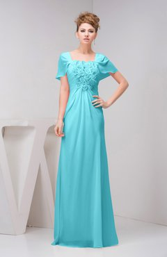 Modest Bridesmaid Dresses with Sleeves Light Blue - UWDress.com