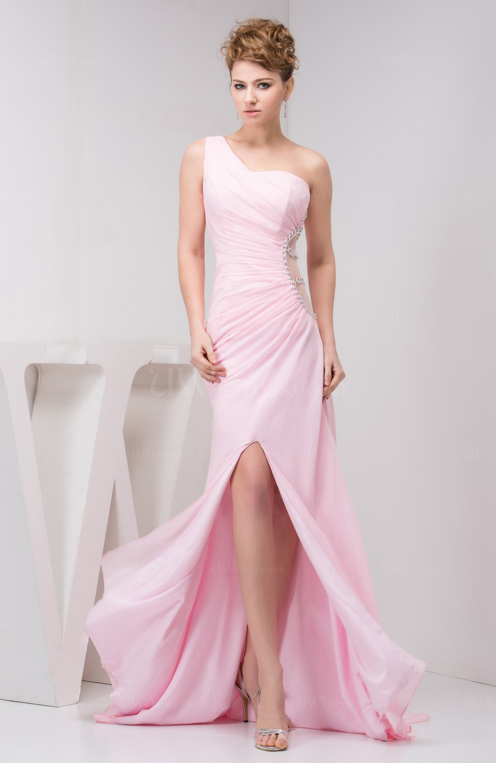 Baby Pink Long Wedding Guest Dress Inexpensive Fall One Shoulder ...
