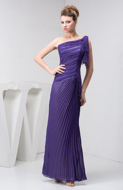 Dark Purple Chiffon Bridesmaid Dress One Shoulder Pretty Plain Semi Formal A line Fall