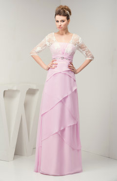 Baby Pink with Sleeves Bridesmaid Dress Chiffon Illusion Rhinestone Natural Western
