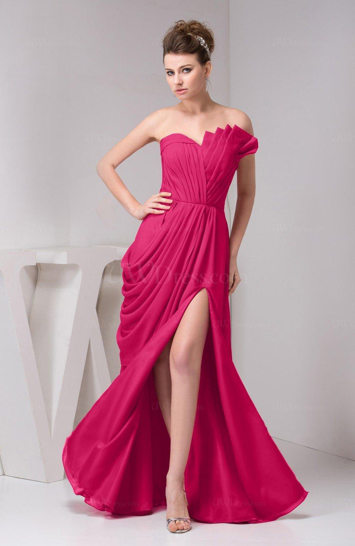 Fuschia Chiffon Bridesmaid Dress Unique Destination Open Back Fall ...