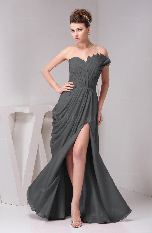 Grey chiffon bridesmaid dress unique destination open back for Backless chiffon wedding dress