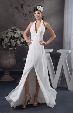 White Chiffon Bridesmaid Dress Affordable Backless Summer Beaded Fashion Formal