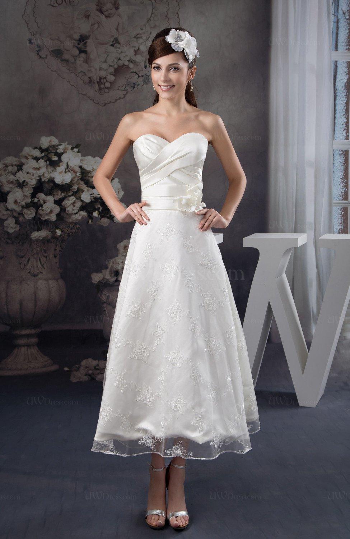 Tea length bridesmaid dress lace classic garden a line for Elegant tea length wedding dresses
