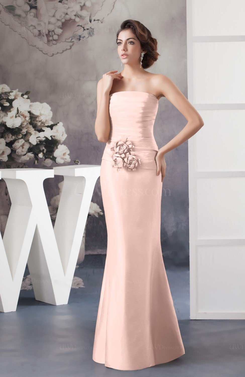 Pastel Pink Affordable Bridesmaid Dress Inexpensive Taffeta Outdoor ...