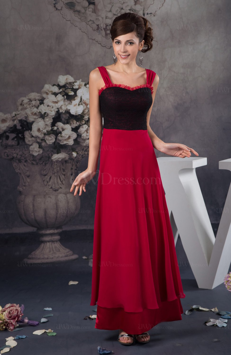 Lace bridesmaid dress chiffon natural outdoor sweetheart for Lace western wedding dresses