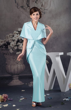 Aqua with Sleeves Party Dress Inexpensive Ankle Length Autumn Summer Western