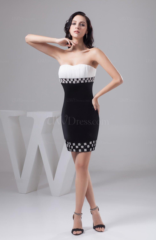 Black Summer Cocktail Dress Short Luxury Mini Western Strapless ...